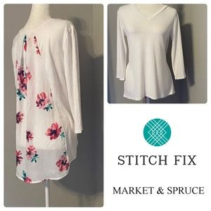 Market & Spruce White and Floral High-Low Top